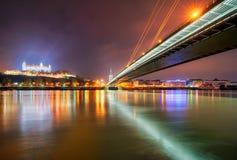 布拉索夫城堡和Danune河在斯洛伐克,布拉索夫首都 库存照片