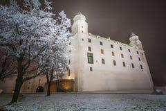 布拉索夫城堡在多雪的冬天夜 库存照片