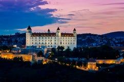 布拉索夫城堡晚上 库存照片