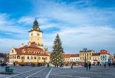 布拉索夫市政厅广场在罗马尼亚 库存图片