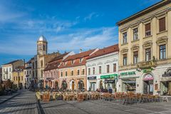 布拉索夫市政厅广场在罗马尼亚 免版税库存图片
