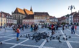 布拉索夫,罗马尼亚- 2017年8月10日, :布拉索夫委员会正方形(Pi 免版税库存照片