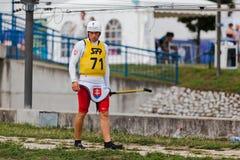 布拉索夫- Cunovo,斯洛伐克- 2010年8月13 15日:ECA欧洲独木舟障碍滑雪冠军2010年 免版税库存照片