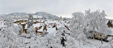 布拉索夫由新鲜的雪盖了 免版税库存图片