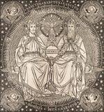 布拉索夫,斯洛伐克, 2016年11月- 21日:三位一体石版印刷在Missale Romanum 免版税库存图片