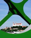 布拉索夫,斯洛伐克- 2016年5月20日:从布拉索夫的新的老桥梁(最Stary的看法) 免版税图库摄影