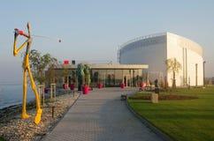 布拉索夫,斯洛伐克- 11月15 :新的艺术Danubiana博物馆外部在城市布拉索夫 库存图片
