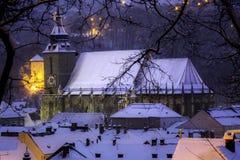 布拉索夫,特兰西瓦尼亚,罗马尼亚- 2014年12月28日:中世纪黑人教会的看法 免版税库存照片