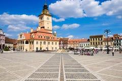 布拉索夫,特兰西瓦尼亚,罗马尼亚 老市中心叫Piata 图库摄影