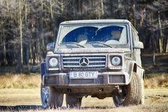 布拉索夫,罗马尼亚2017年3月04日:2017年3月04日的奔驰车G班的实验驾驶在布拉索夫,罗马尼亚 免版税库存照片