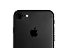 布拉索夫,罗马尼亚- 2016年11月25日:iPhone 7黑表面无光泽的细节 库存照片