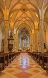 布拉索夫-圣马丁大教堂主要教堂中殿从15。分的。 库存照片