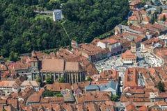 布拉索夫-罗马尼亚的历史的中心 库存照片
