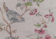 画布接近的绘画 一只百灵在春天庭院里 免版税库存照片