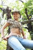 布料性牛仔的女孩 图库摄影