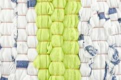 布料纹理-绿色和白色 库存图片