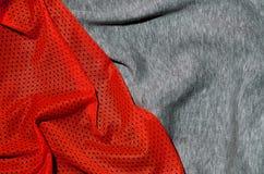 布料纺织品表面顶视图  特写镜头起皱了加热器并且编织了与稀薄的条纹图形的织品纹理 体育衣物 免版税图库摄影