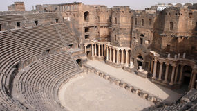 布斯拉,叙利亚剧院  库存图片