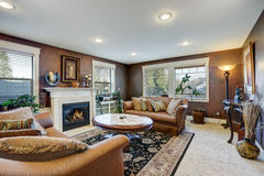 布朗与传统壁炉的家庭娱乐室内部 库存图片