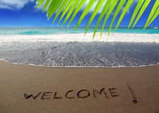 布朗与文字欢迎的沙子海滩 免版税库存图片