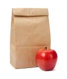 布朗与裁减路线的袋子午餐 免版税图库摄影