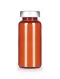 布朗删去在白色隔绝的玻璃医疗瓶 图库摄影
