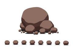 布朗动画片平的传染媒介石头集合 图库摄影