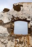 布朗变形了油漆墙壁阿雷西费兰萨罗特岛西班牙 库存照片