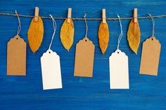 布朗和垂悬在与干燥黄色秋叶的一条绳索的白色白纸价牌或者标号组在蓝色木背景 免版税库存图片