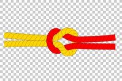 布朗和红色绳索与结在透明作用背景 免版税图库摄影