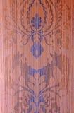布朗和蓝色葡萄酒贴墙纸与锦缎样式 库存照片