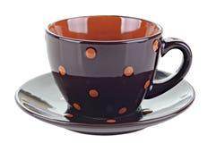 布朗咖啡杯或在白色背景隔绝的茶杯 免版税库存图片