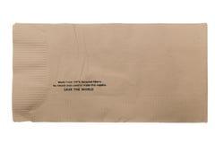 布朗回收了在白色隔绝的酒吧餐巾 免版税库存图片