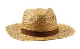 布朗在白色隔绝的织法帽子 免版税图库摄影