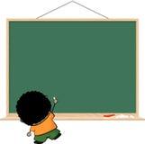 布朗在空白的黑板的孩子文字 免版税库存图片