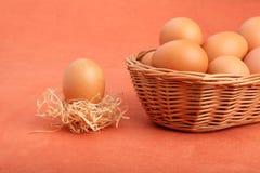 布朗在strawnest的鸡在篮子的鸡蛋和鸡蛋 免版税库存图片