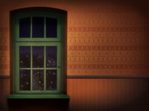 布朗墙壁和绿色木窗口背景 免版税库存图片