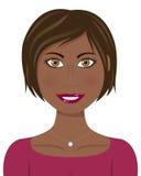 布朗头发和眼睛蓬松卷发妇女 库存照片