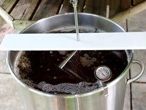 布朗强麦酒的喷射饲料与行动迷离 免版税库存照片