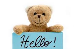 """布朗拿着用两只手在蓝色颜色的玩具熊笔记与手写的消息""""Hello! 作为可喜的迹象概念的† 免版税库存照片"""