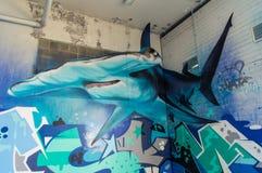布朗斯维克街的街道画艺术在Fitzroy,墨尔本 免版税库存照片