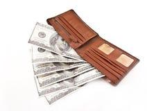 布朗有被隔绝的美元的皮革钱包 免版税库存图片