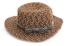 布朗有黑白丝带的妇女帽子 图库摄影