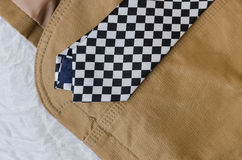 布朗有黑白领带的时尚夹克 免版税库存图片