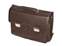 布朗有黄铜扣的皮革公文包 免版税图库摄影