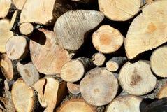布朗木柴的裁减木头 库存照片
