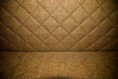 布朗材料缝制的室内装饰品背景或纹理 免版税库存图片