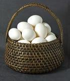 布朗柳条筐充满白鸡蛋 库存图片