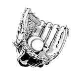 布朗棒球手套和球 向量例证