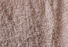 布朗毛巾详细的纹理 图库摄影